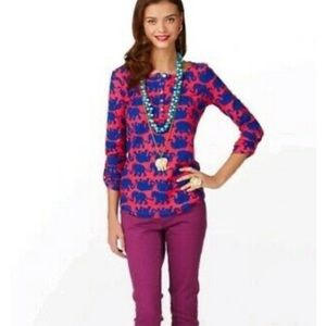 Lilly Pulitzer Pink Blue Elephant 3/4 Sleeve Top